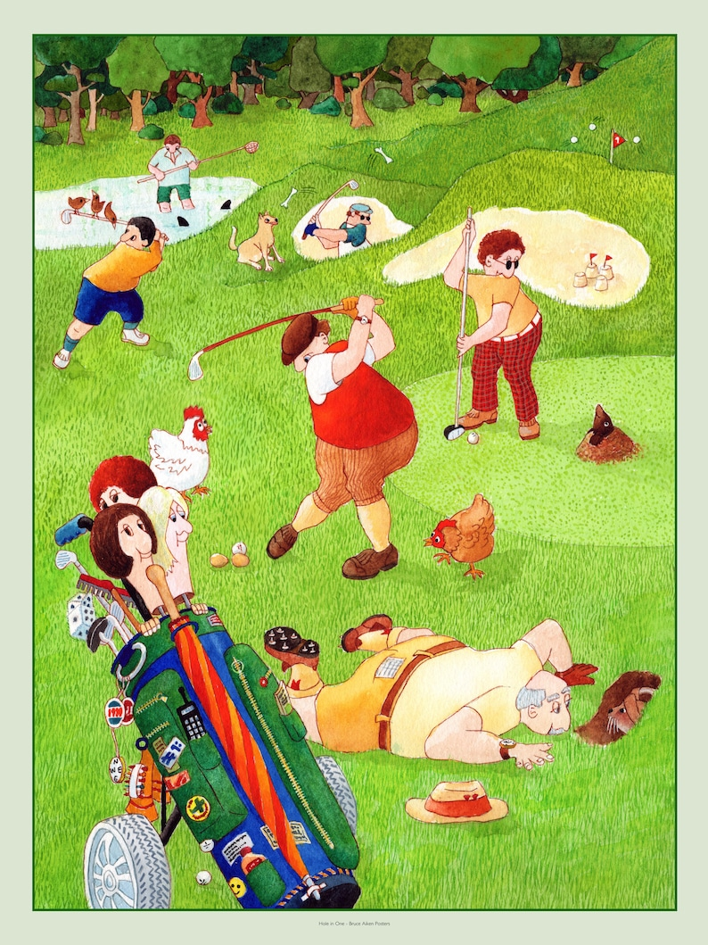 Hole in One  humorous poster art based on a round of golf and image 0