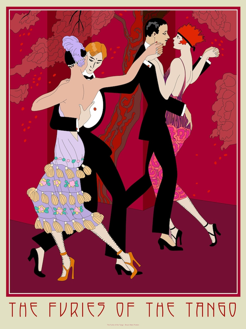 The Furies of the Tango  poster in the art deco style of two image 0