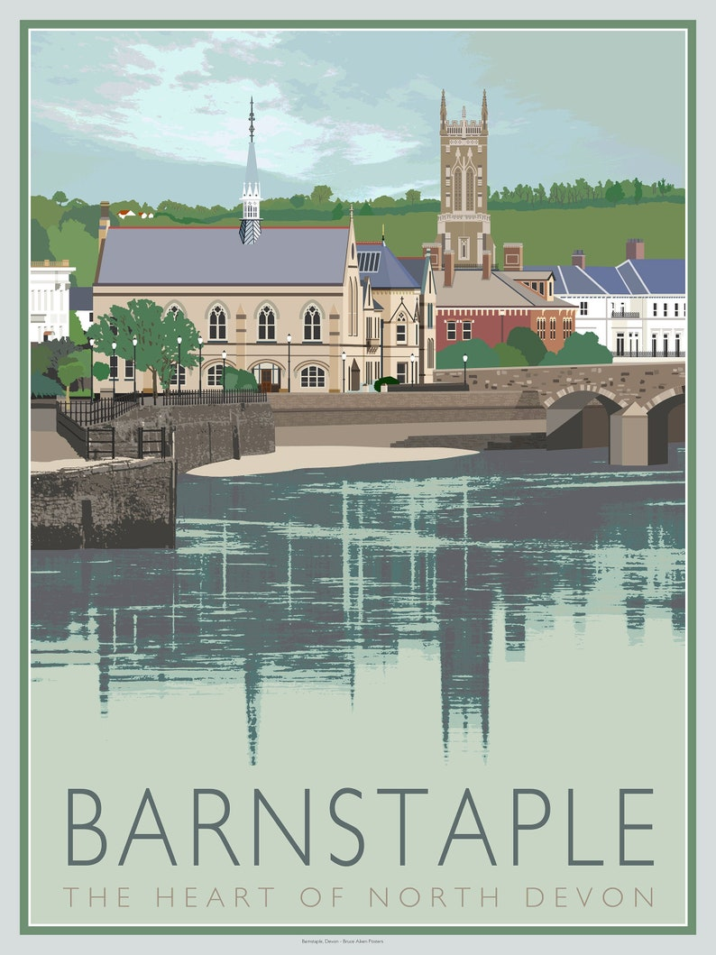 Barnstaple and the river Taw  contemporary poster art of image 0