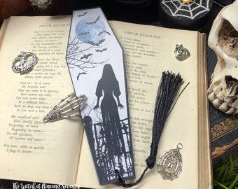 Halloween Bookmark, Black and White Spooky Girl Halloween Coffin Bookmark, Gothic Bookmark, Witchy Bookmark, UK Halloween