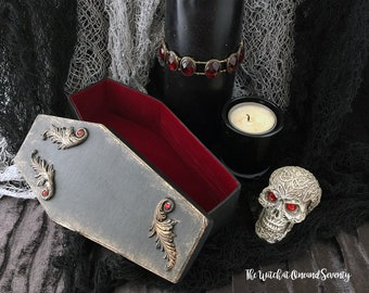 Embellished Gothic Coffin Box, Black Coffin with Red Velvet Lining, Cardboard Coffin, Halloween Decoration, Gothic Home, Victorian Gothic