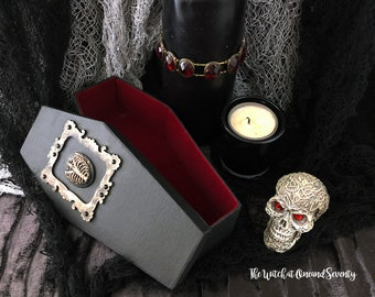Spooky Gothic Ribs Coffin Box, Black Coffin with Red Velvet Lining, Cardboard Coffin, Halloween Decoration, Gothic Home, Victorian Gothic