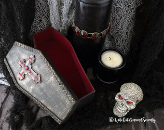 Gothic Jewelled Cross Coffin Box, Black Coffin with Red Velvet Lining, Cardboard Coffin, Halloween Decoration, Gothic Home, Victorian Gothic