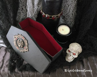 Spooky Lady Gothic Coffin Box, Black Coffin with Red Velvet Lining, Cardboard Coffin, Halloween Decoration, Gothic Home, Victorian Gothic