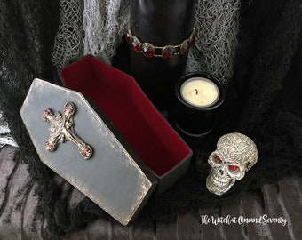 Spooky Coffin Box, Gothic Crucifix, Black Coffin with Red Velvet Lining, Gothic Coffin, Halloween Decoration, Gothic Home, Victorian Gothic
