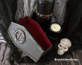 Jewelled Cross Gothic Coffin Box, Black Coffin with Red Velvet Lining, Cardboard Coffin, Halloween Decoration, Gothic Home, Victorian Gothic
