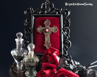 Jewelled Gothic Cross, Ornate Black Frame, Black and Red Art, Gothic Art, Iconography, Gothic Cross