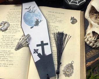 Halloween Bookmark, Black and White Halloween Coffin Bookmark, Gothic Bookmark, Witchy Bookmark, UK Halloween