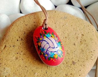 unisex bird necklace stone art handmade pendantnecklace gift for naturebird lover bird Hand painted miniature stone pendant