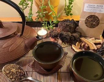 Reishi Chaga Chai Tea - 100% Organic and Fair Trade; includes 6 medicinal, foraged mushrooms. 4 oz.