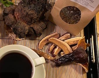 Chaga-Reishi Mushroom Coffee Blend - 100% Organic French Roasted Coffee with 6 foraged mushrooms. 4 oz.