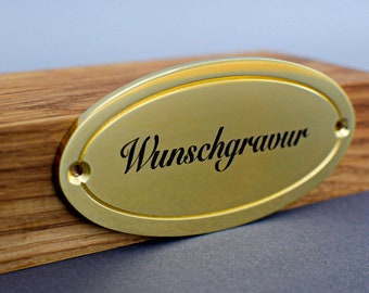 Brass Shield - High Quality (Oval) | Polished & Painted| 4 mm Strong | Individual engraving | Made in Germany