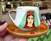 coffee cup with bamboo plate, Armenian girl face
