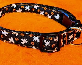 Ghost and pumpkin Halloween dog collar
