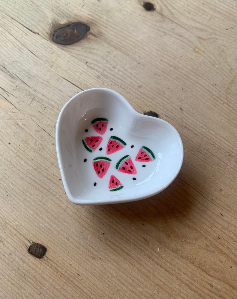 Watermelon Design Heart Dish Watermelon Ring Dish Watermelon Jewellery Dish Trinket Dish Hand Painted Gifts