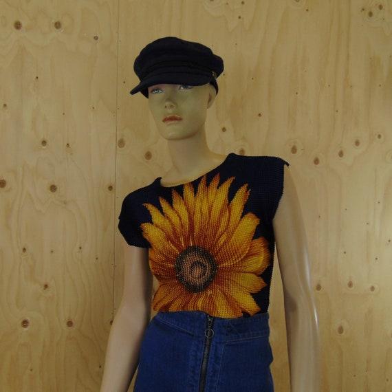 00s Popcorn top zonnebloem, sunflower shirt