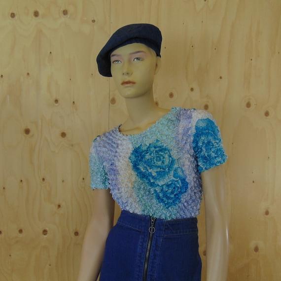 00s popcorn top, stretch shirt, vintage fashion