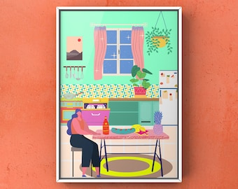 A4 / A3 print | Wall art | Black owned business | Black owned art | Paradise House: Kitchen