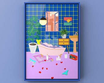 A4 / A3 print   Wall art   Black owned business   Black owned art   Paradise House: Bathroom