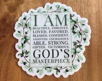 Religious Sticker, Scripture Decal, I Am God's Masterpiece Sticker, Christian Sticker, Bible Cling, Bible Verse Sticker, Faith Sticker