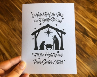 O Holy Night Christmas Cards, Nativity Christmas Cards, Religious Greeting Cards, Christian Christmas Card Pack, Black and White, Unique