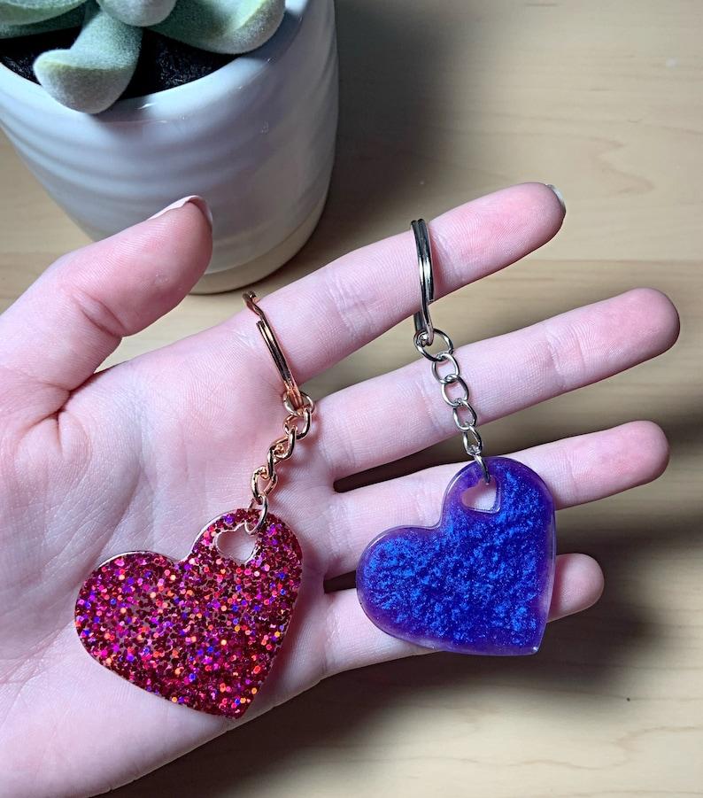 Custom resin heart keychains