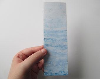 Blue Waves Acrylic Paint Handmade Ocean Inspired Laminated Custom Bookmark