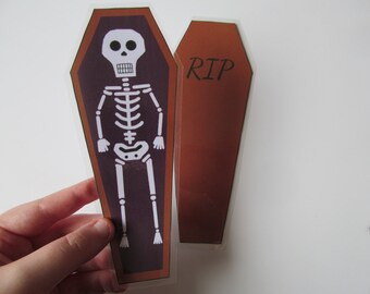 Handmade Cute Gothic Halloween Skeleton In A Coffin Shaped Quirky Laminated Double Sided Bookmark