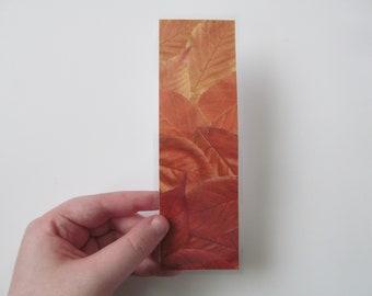 Autumn Vibes Real Fall Leaves Print Handmade Laminated Custom Bookmark