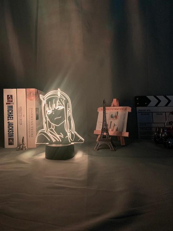 3D-Lampe Anime Darling in der FRANXX 02 Zero Two LED-Nachtlichtfernbedienung 16-Farben-Tischlicht Kinderzimmer Outfit