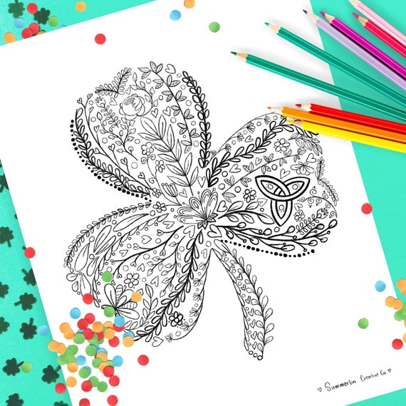 Shamrock Coloring Page Adult Coloring Printable Coloring Sheet