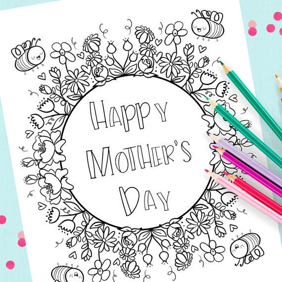Mother Day Coloring Page Bee Coloring Page 303