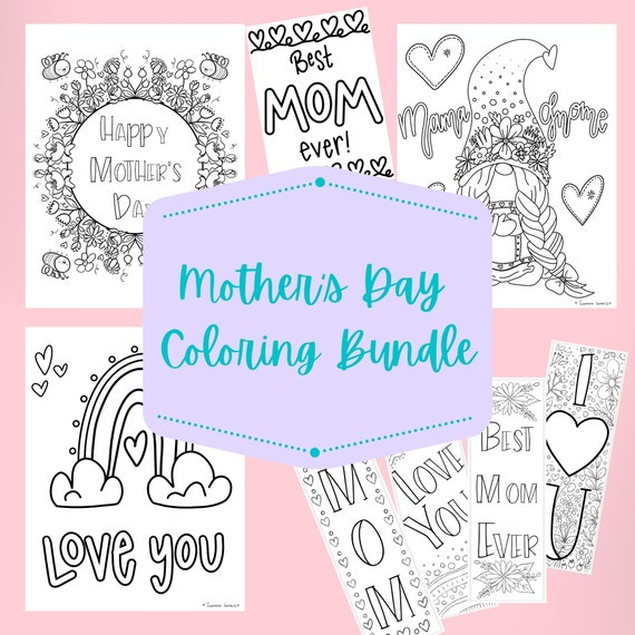 Mother Day Coloring Page Bundle Printable Card Coloring