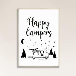 Scamp Art Painting \u2022 A Life I Live  \u2022 Gouache Watercolor Camping Decor Illustration Vintage Camper Trailer Home Forest Art \u2022 Giclee Print
