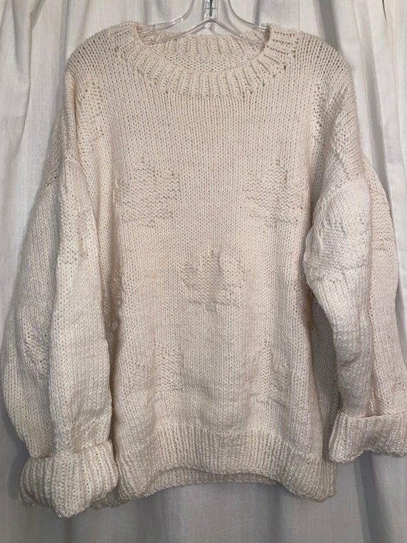 Thick knit Canadian maple leaf hand made knit swea