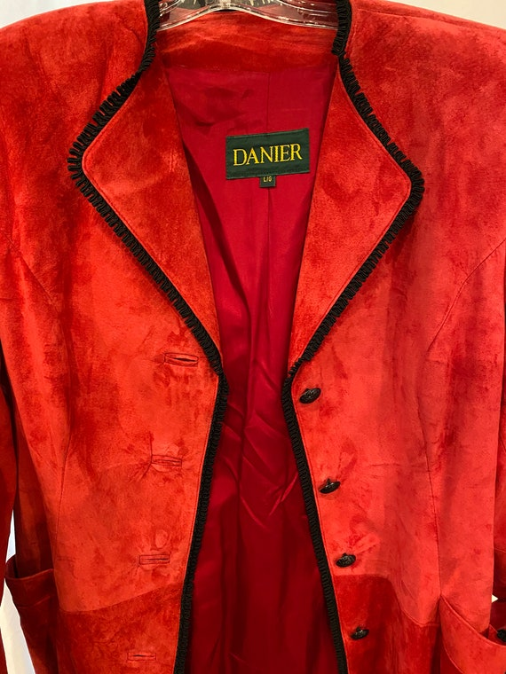 VINTAGE Danier Leather Red Peacoat Trench Coat Bla