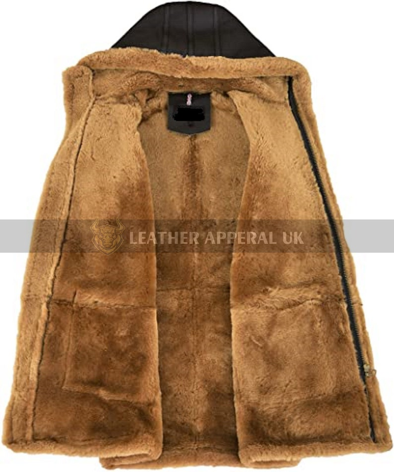 Mens Leather Shearling Coat Real Cow Leather Fur Coat Handmade Black Hooded Winter Coat