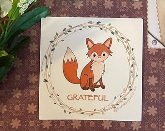 Grateful Fox Art Print | digital illustration, inspirational home decor, small print, cute wall art, animal lover,
