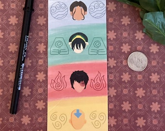 Bookmark: Avatar The Last Airbender, digitally drawn bookmark for teens, book accessories, cute bookworm gift, reading stationary, books