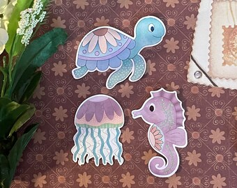 Pastel Ocean Friends | cute sketchbook stickers, stationary accessories, bullet journal supplies, turtle sea horse jelly fish, animal lover