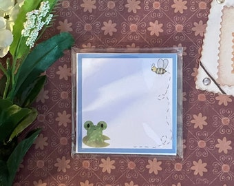 Cute memo pads | Desk Pad, Notepad Cute Stationery, Kawaii, Froggy, strawberry, digitally drawn office supplies, school accessories