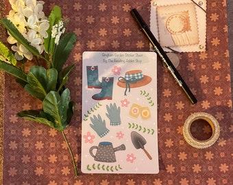 Gingham Garden Sticker Sheet | planner accessories, cute stickers, spring stationary, digitally drawn handmade, journal essentials, flowers