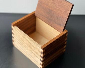 Wood Salt Cellar - Salt Box - Salt Pig - Walnut and Maple Hardwood