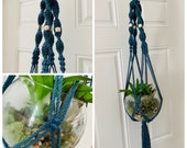 Macrame Plant Hanger - Hanging Planter - Hanging Planter- Boho Decor - Peacock Blue - Recycled Cotton Rope - Eco-Friendly