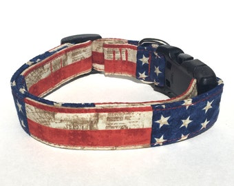 Blue Flower Dog Collar; Patriotic Flower Dog Collar Stars and Stripes White Red