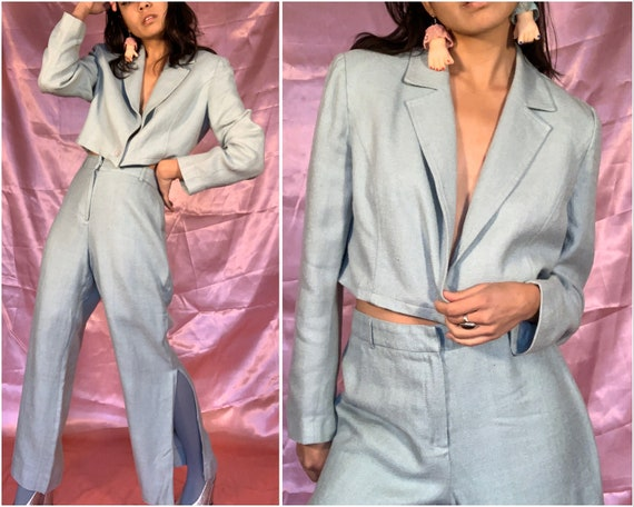 90s Light Blue Silk Pants Suit, Reworked Cropped B