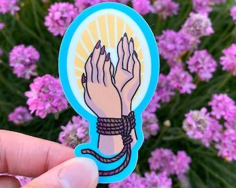 Praying Hands Shibari Vinyl Sticker