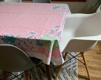 1960s Retro Summer Daisy Floral Large Rectangle Tablecloth