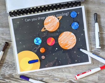 Can You Draw What's Missing? - Printable Busy Book Bundle, Homeschool, Kids, Busy Book, Fun, Art, Problem Solving, Creativity, Dry Erase