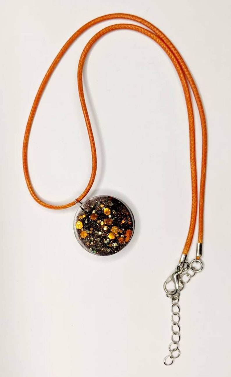 Orange glitter resin necklace